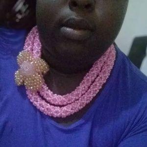 3pc Pink Crystal Necklace Set